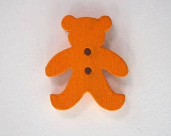 20mm x 10 bear wooden button: Orange - 001878