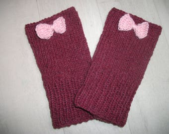 Fingerless gloves arm warmers Burgundy and pink bow mid half-woolen women