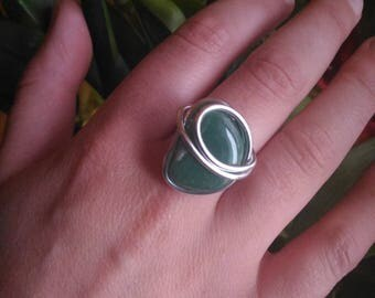 Green aventurine and T 56 aluminum wire ring