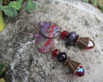 Purple and Red ethnic earrings, enameled copper disc, glass beads and copper metal, chandelier earrings