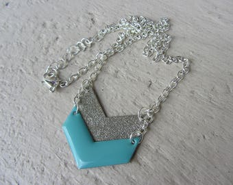 chevron Pendant Necklace blue enamel on silver, geometric, simple and elegant, blue and silver chain