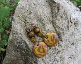 Earrings dangling sequin round polymer clay, wood beads and glass, Brown, mustard yellow and bronze
