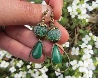 """Green chlorophyll charm drop dangling earrings with enamel and metal bronze, """"sugar"""" bead craft spun, green and bronze glass"""