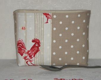 "SALE empty pockets / egg pattern ""Rooster"" ref.1357 cotton basket"