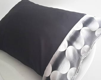 Cushion cover 50 x 30 cm black and white