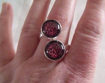double black spotted pink cabochon ring