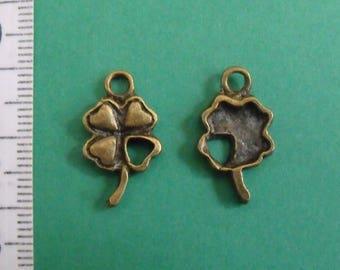 set of 5 charm bronze clover 4 leaf 19mmx11mm