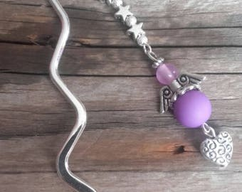 Silver charm bookmark Angel and purple beads