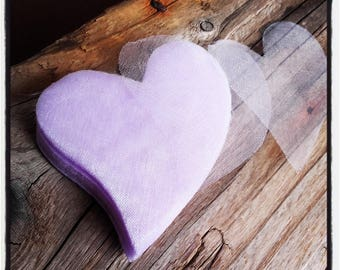 set of 100 hearts organza purple 70mm x 85mm