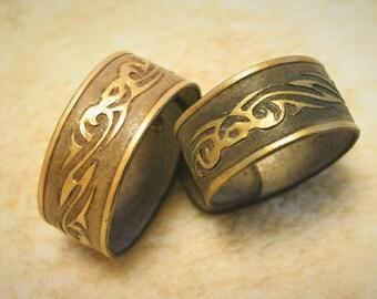 "Bracelet men women mixed ""tribal ethnic"" hand tooled leather"