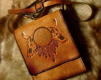 Shoulder bag Messenger bag mens tooled leather Western style country gift