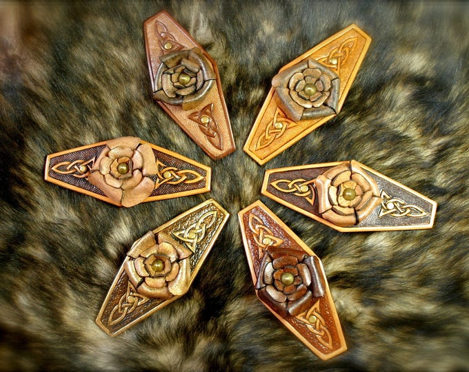 Hair accessory Barrette hair clip fantasy tooled leather Celtic interlacing with molded leather creation Margaery rose