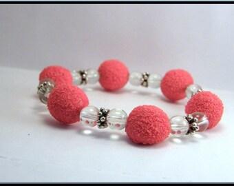Elastic bracelet sweet Strawberry and glass bead.