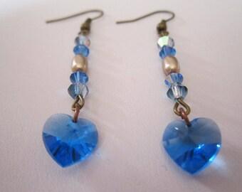 """The hearts"" beige and Sapphire swarovski earrings"