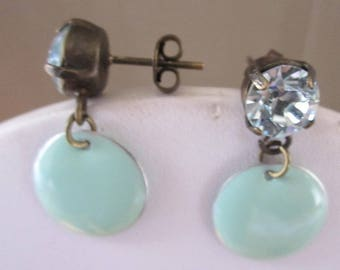 Light green sequin and swarovski cabochon earrings