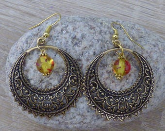 gorgeous Victorian lace filigree hoops and the amber bead