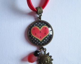 """Watermelon, black and red heart"" necklace setting, costume jewelry"