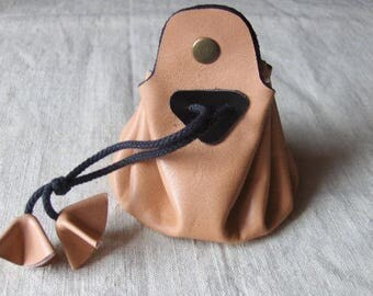 Coin - purse pink - black leather purse