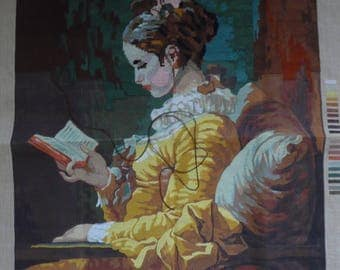 """Grand canevas LL french Tapestry """" The young reader"""" vintage ( made partially) in good condition"""