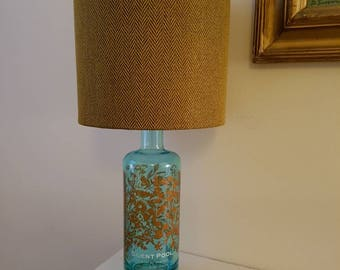 Silent pool gin lamp with handmade lampshade