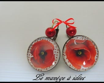 "Earrings / sleeper/cabochon ""pretty poppy ladies"" bronze metal"