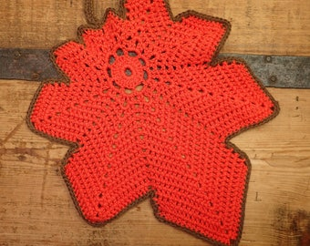 large handmade crochet leaf