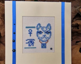 Hand embroidered card: Egyptian Cat Head