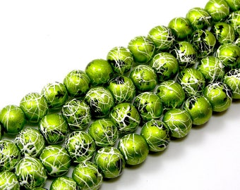 Set of 20 drawbench 6 mm green glass beads