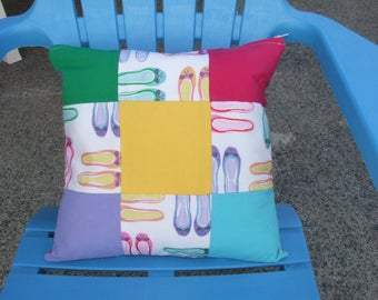 Patchwork hand stitched cushion