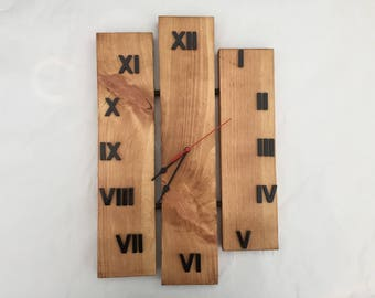 clock wood stained waxed pine