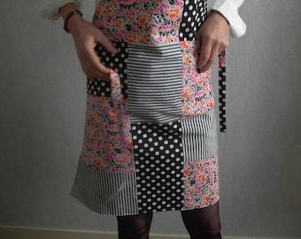 Women apron, patchwork in shades of orange & Black