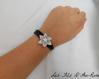 Gray black satin with satin flower bracelet