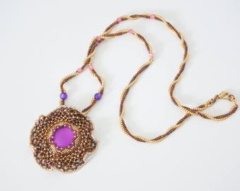 woven necklace, pendant scalloped rosette, Lunasoft cabochon, pearls Swarovski crystals, seed beads and Delica