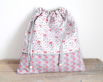 Pouch fabric hearts pattern
