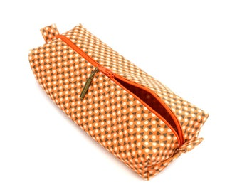 Pencil case in geometric pattern fabric