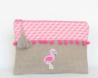 Pouch Flamingo Pink and linen tassels