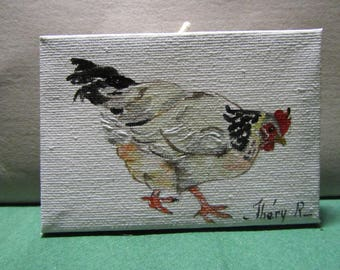 black and white chicken painted on small canvas