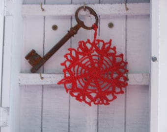 Red crochet keychain