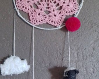 dream catcher pink with small sheep