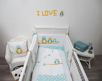 Bumper baby blue and yellow theme white owls