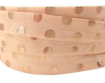 Elastic Headband / BLUSH BRONZE / width 15mm, 50cm cut