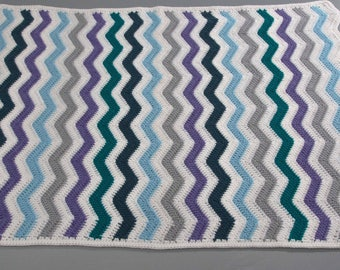 Blanket is made for baby, striped blue sky/Navy/purple/gray
