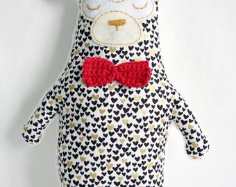 Teddy bear fleece hearts and Red bow tie - black, white and gold pattern