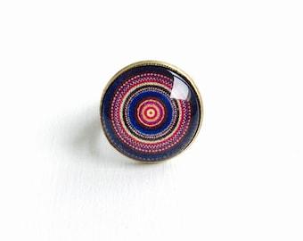 Bronze ring - Cabochon blue and pink Mandala
