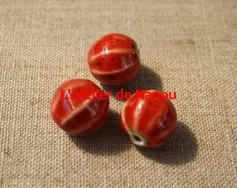 handmade 16 mm red ceramic bead