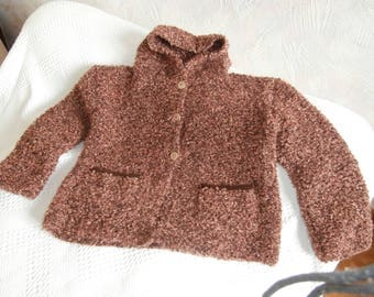 Hoodie 6 yarn for knit girl hand closed with 3 buttons