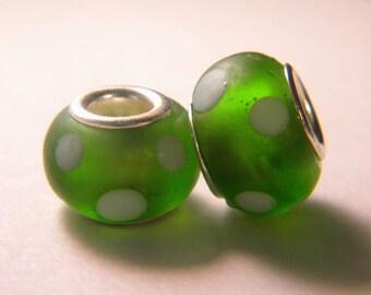 bead charm European glass Lampwork - green - polka dots - 14 x 10 mm-C32-3