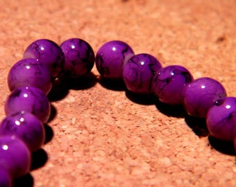 100 beads speckled marble glass - 6 mm - purple - PF73