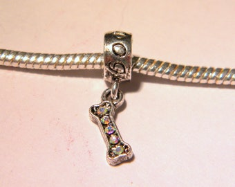 Pearl Libra bead pendant European-strass - dog - dog 20 mm - D62