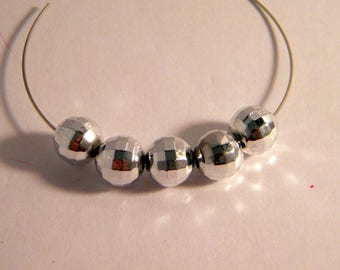 10 faceted beads 10 mm silver acrylic